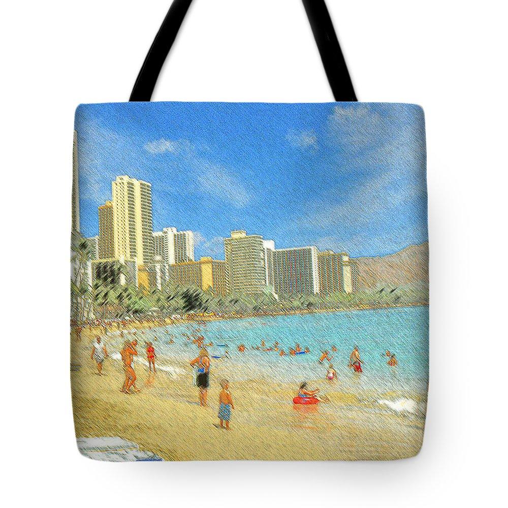 Honolulu Tote Bag featuring the drawing Aloha From Hawaii - Waikiki Beach Honolulu by Peter Potter