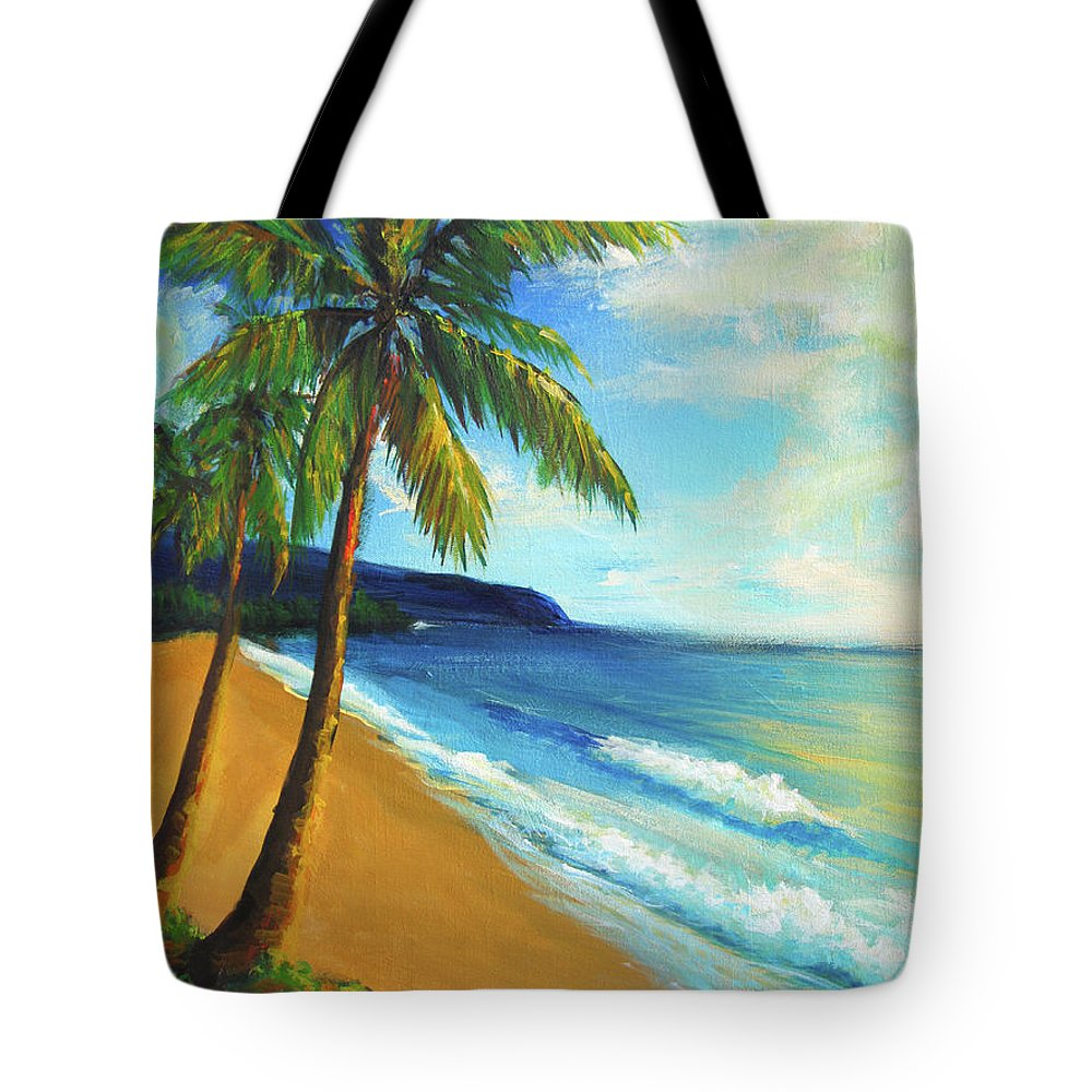 Beach Tote Bag featuring the painting Aloha by Hanako Hawaii