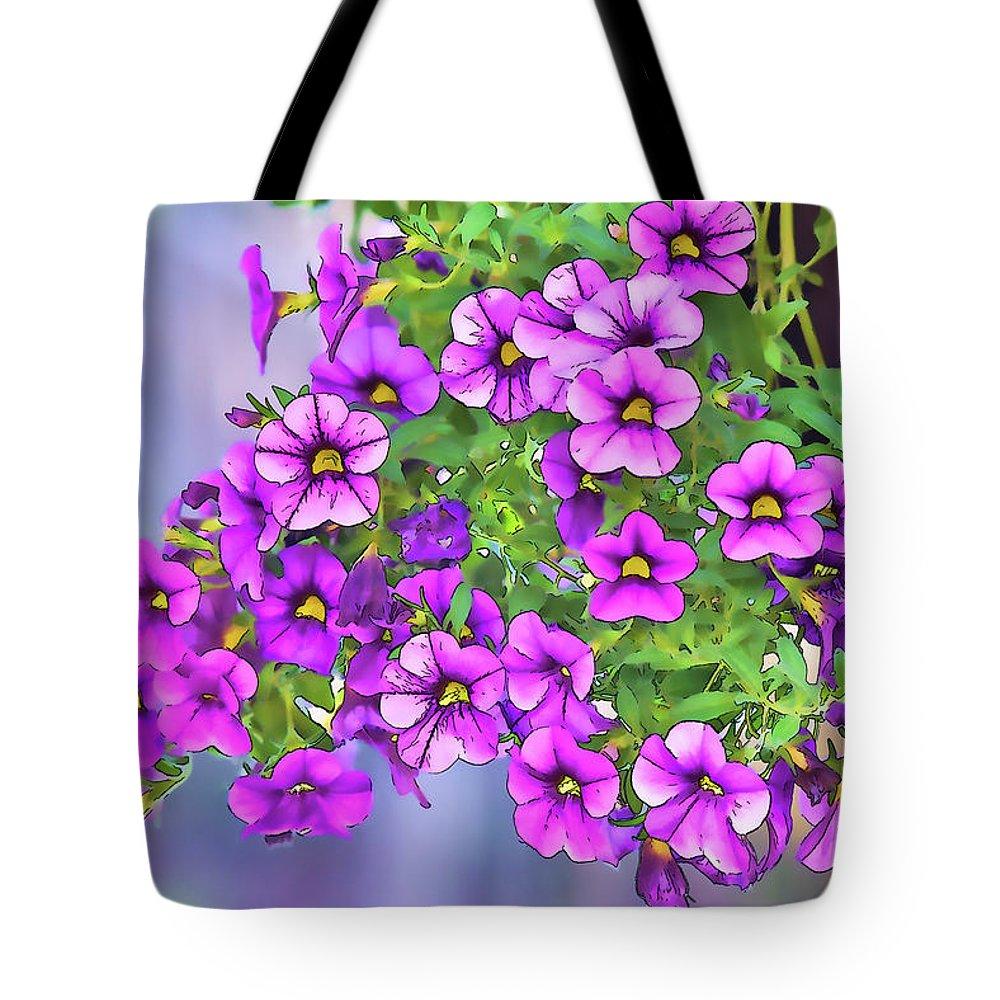 Linda Brody Tote Bag featuring the digital art Aloha Purple Sky Calibrachoa Abstract I by Linda Brody
