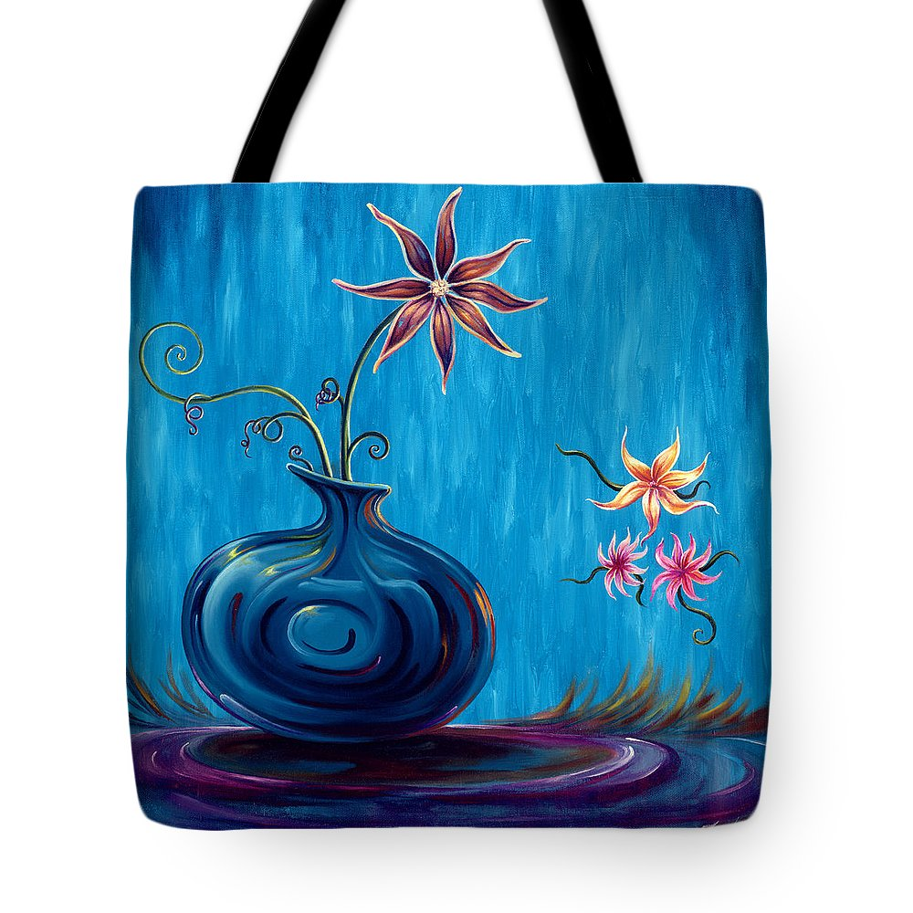 Fantasy Floral Scape Tote Bag featuring the painting Aloha Rain by Jennifer McDuffie