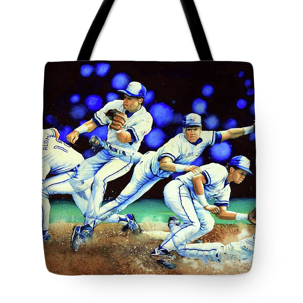 Sports Art Tote Bag featuring the painting Alomar On Second by Hanne Lore Koehler