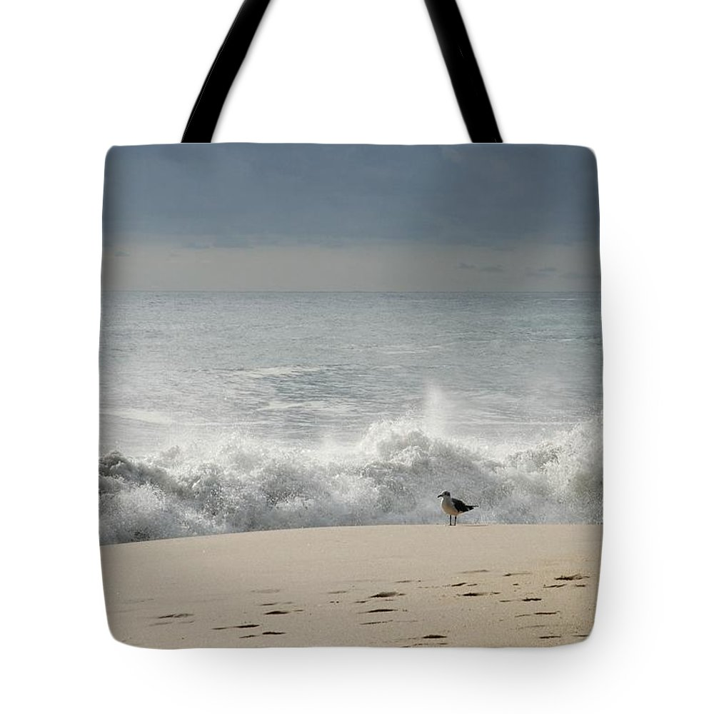 Jersey Shore Tote Bag featuring the photograph Alone - Jersey Shore by Angie Tirado
