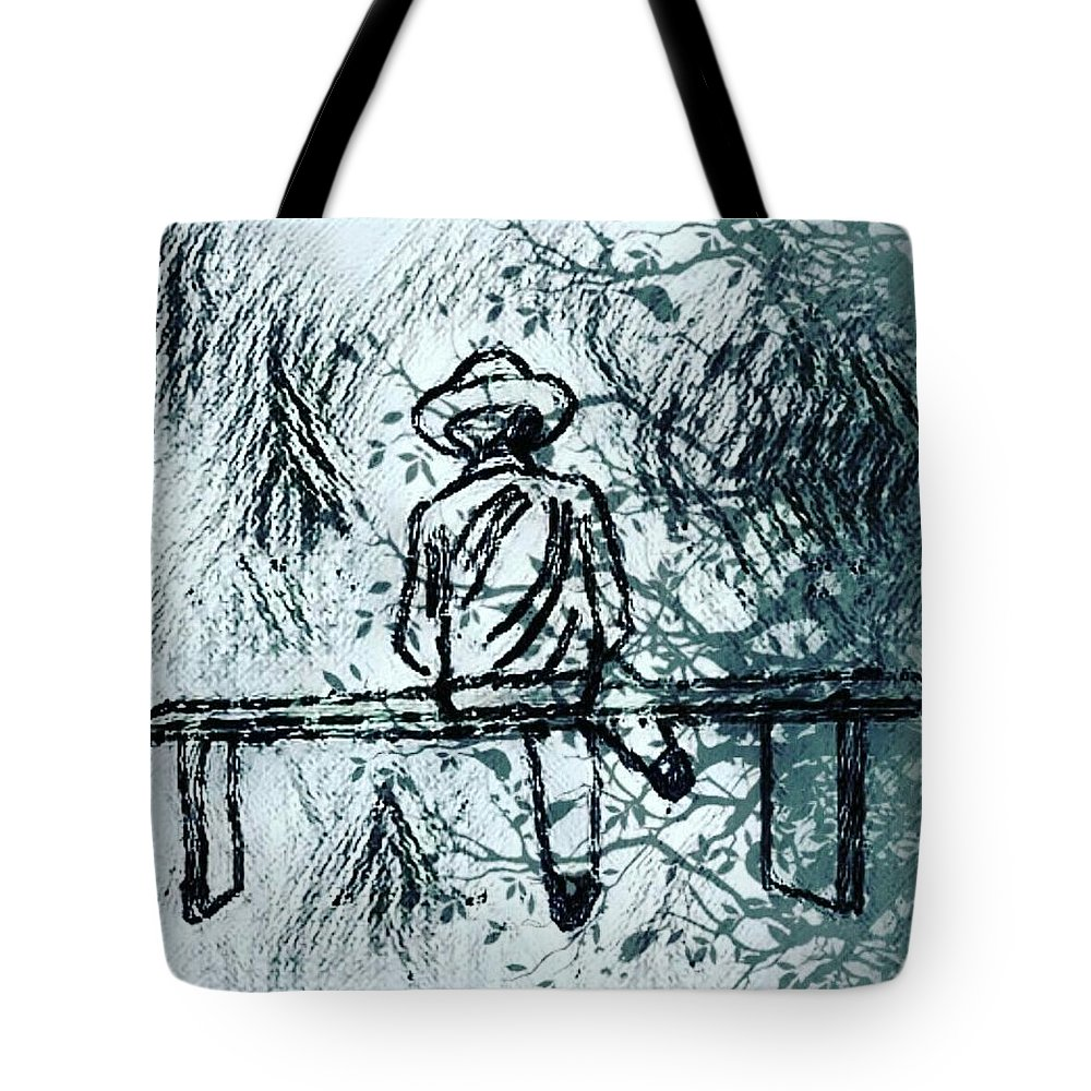 Alone Tote Bag featuring the digital art Alone by Anant Prakash