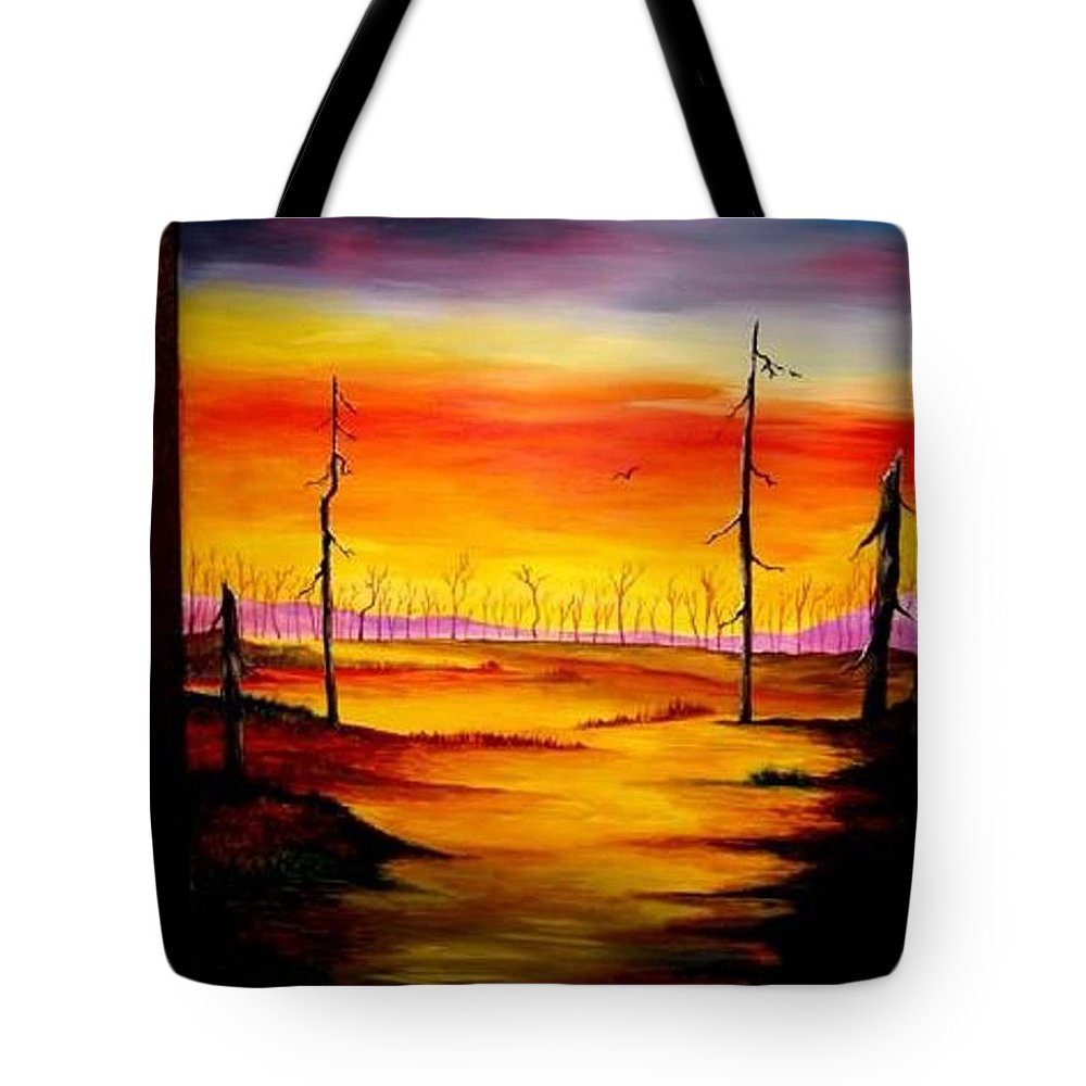 Landscape Tote Bag featuring the painting Alone by Glory Fraulein Wolfe