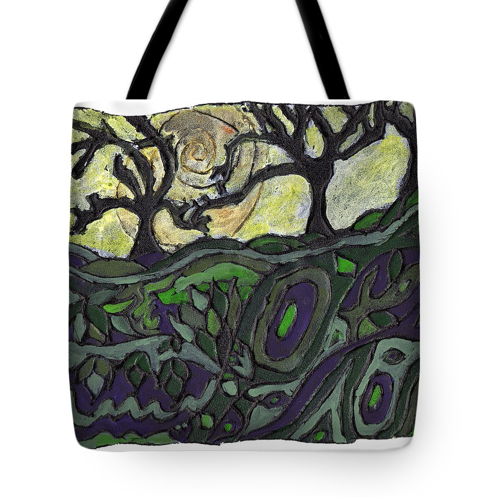 Woods Tote Bag featuring the painting Alone In The Woods by Wayne Potrafka