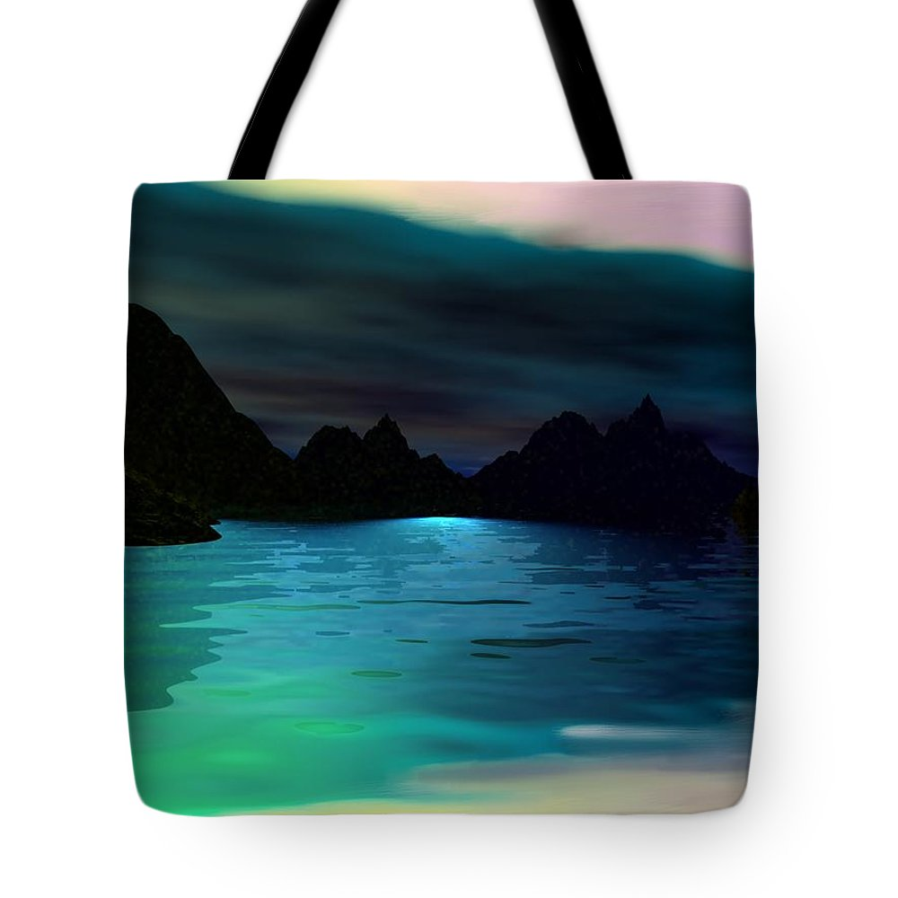 Seascape Tote Bag featuring the digital art Alone On The Beach by David Lane