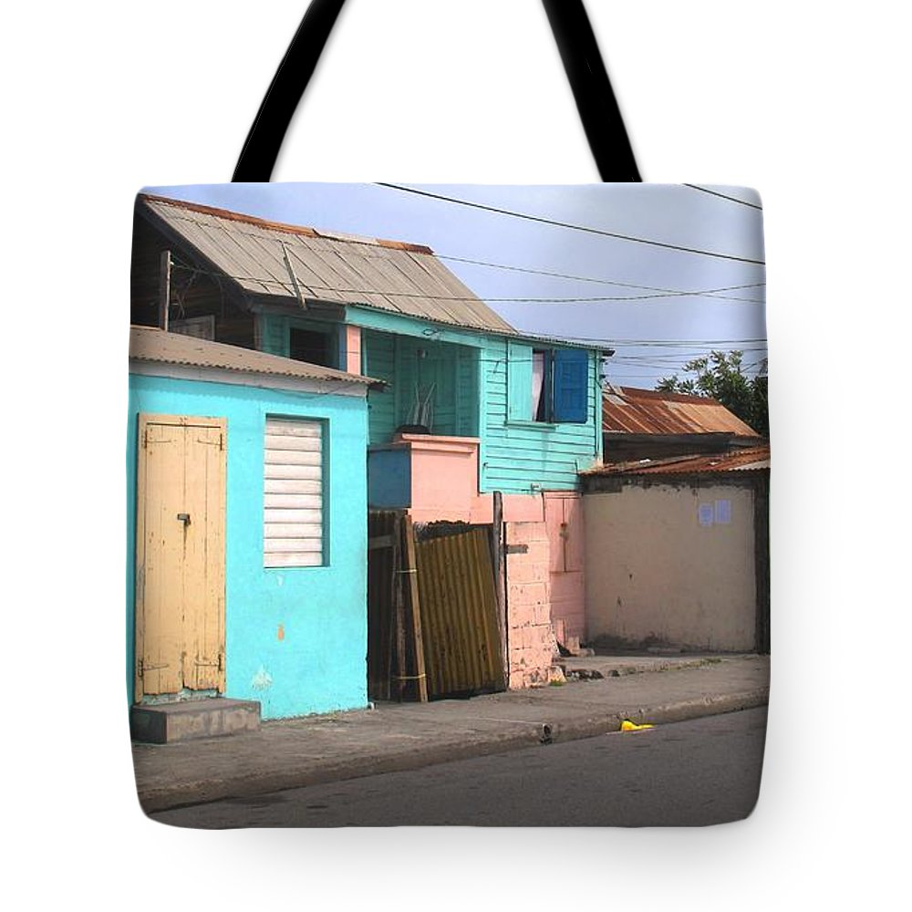 St Kitts Tote Bag featuring the photograph Along Bay Road by Ian MacDonald