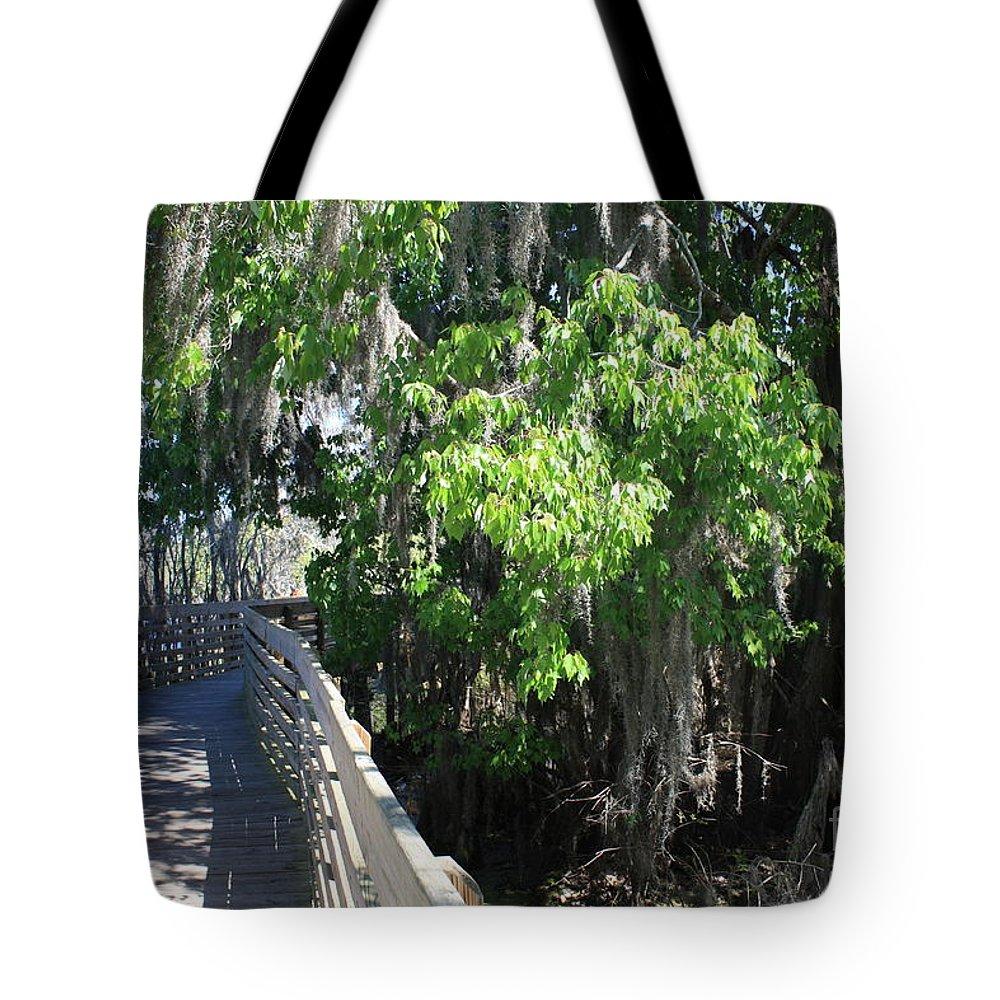 Florida Boardwalk Tote Bag featuring the photograph Along Florida Boardwalk by Carol Groenen