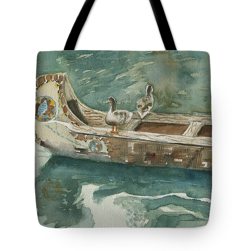 Duck Tote Bag featuring the painting Along For The Ride by Arline Wagner