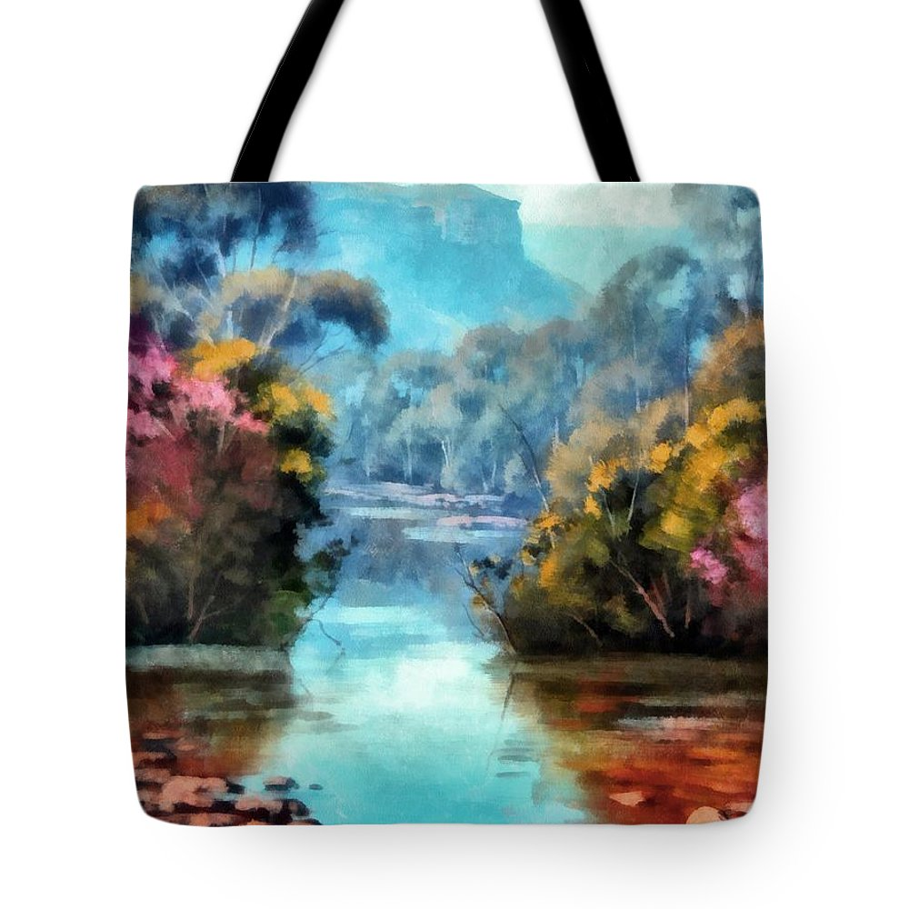 Landscape Tote Bag featuring the digital art Along The Creek by Ronald Bolokofsky