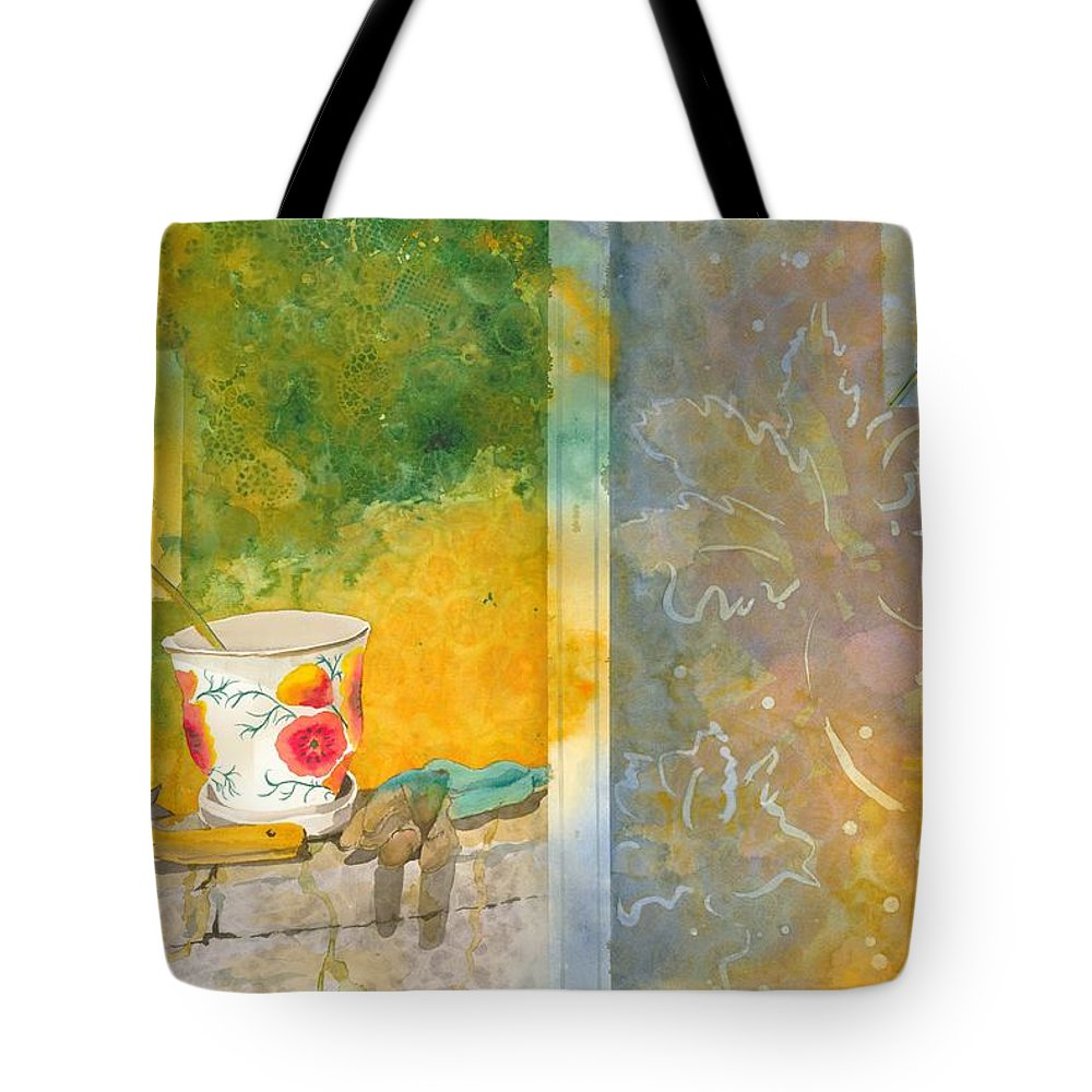 Garden Tote Bag featuring the painting Along The Garden Wall by Jean Blackmer