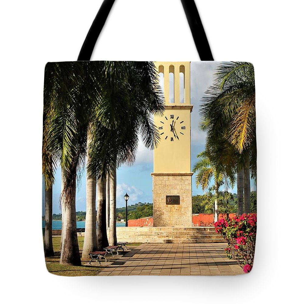 Clock Tote Bag featuring the photograph Along The Hands Of Time by Cherene Watson
