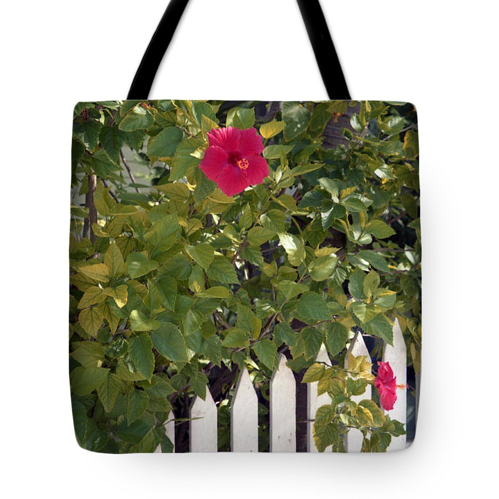 Azelea Tote Bag featuring the photograph Along The Picket Fence by Richard Rizzo
