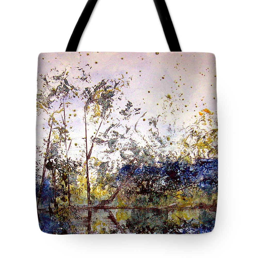Abstract Tote Bag featuring the painting Along The River Bank by Ruth Palmer