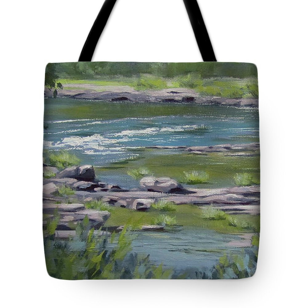 Landscape Tote Bag featuring the painting Along The River by Karen Ilari