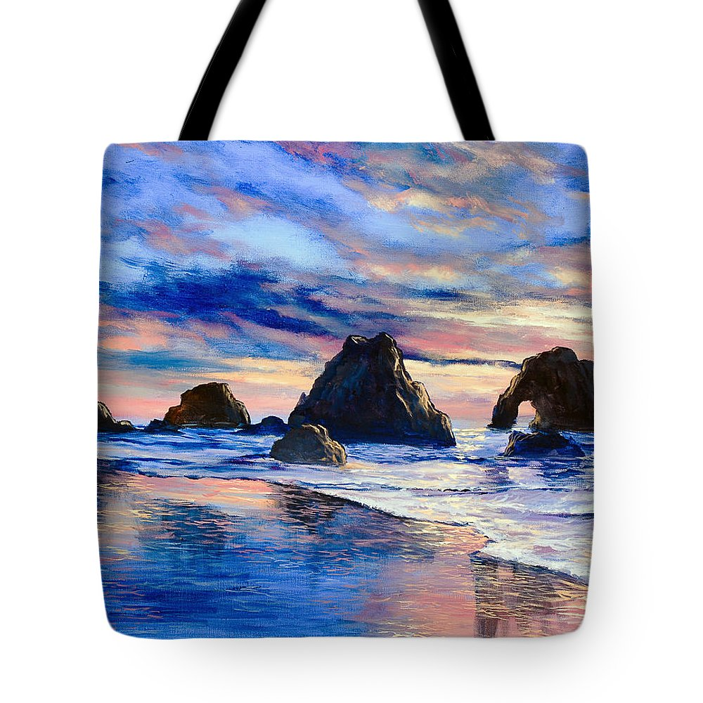 Seascape Tote Bag featuring the painting Along The Rocky Coast by Marco Antonio Aguilar