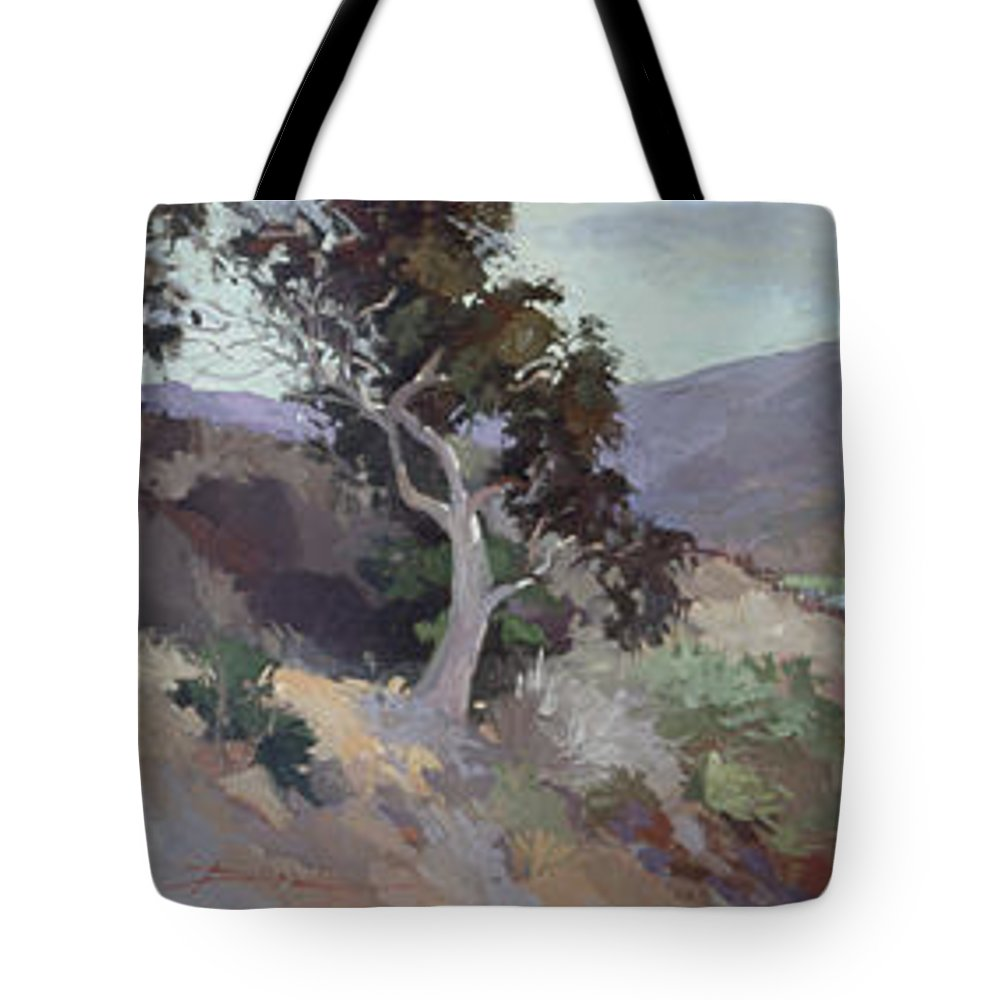 Catalina Island Paintings Tote Bag featuring the painting Along The Shore - Plein Air Catalina Island by Betty Jean Billups