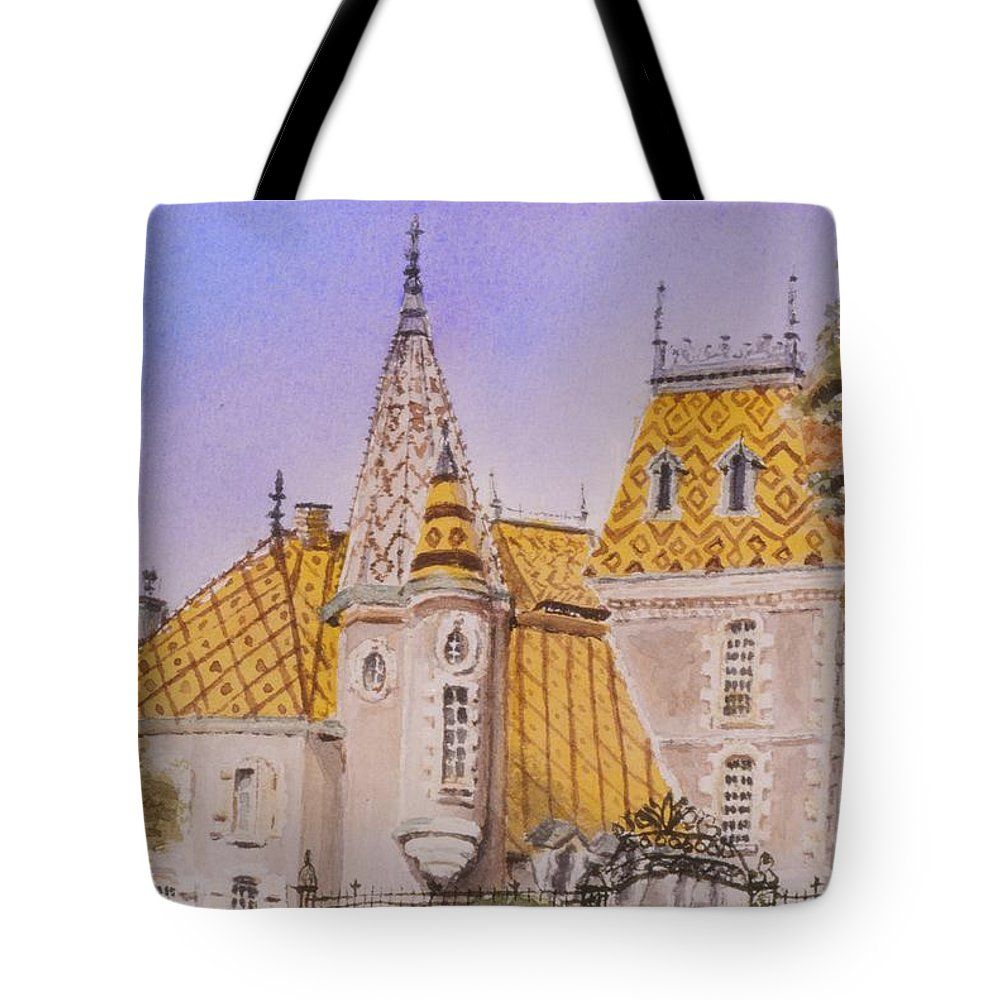 Vineyard Tote Bag featuring the painting Aloxe Corton Chateau Jaune by Mary Ellen Mueller Legault