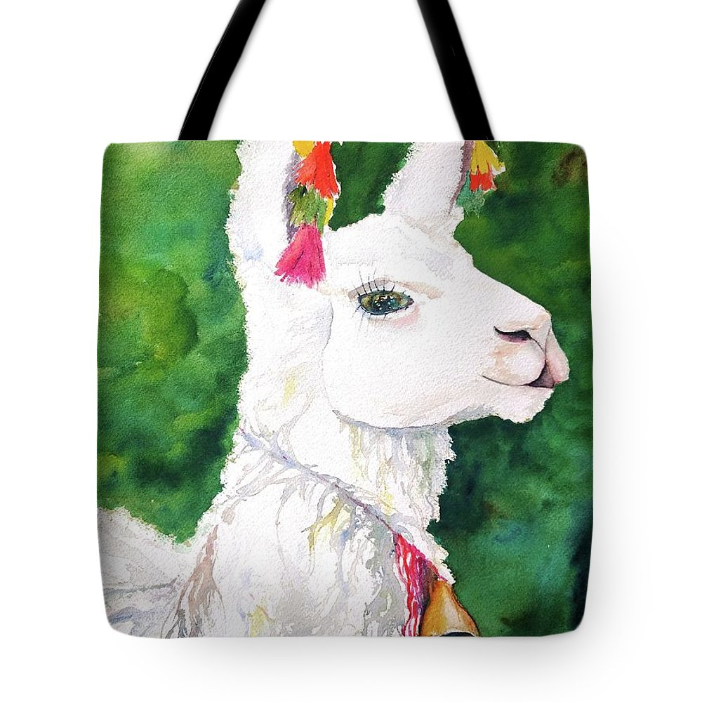 Alpaca Tote Bag featuring the painting Alpaca With Attitude by Carlin Blahnik CarlinArtWatercolor