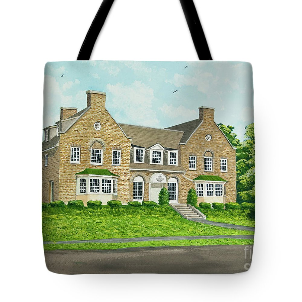 Colgate University Fraternity House Tote Bag featuring the painting Alpha Tau Omega by Charlotte Blanchard