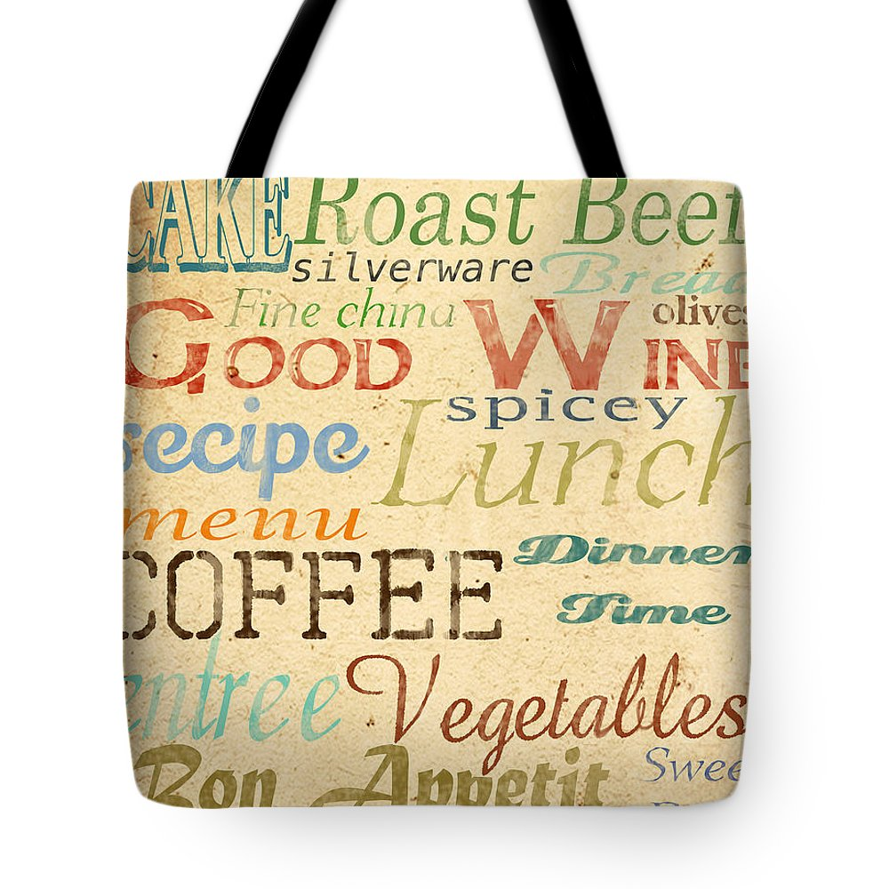 Jean Plout Tote Bag featuring the painting Alphabet Soup-a by Jean Plout