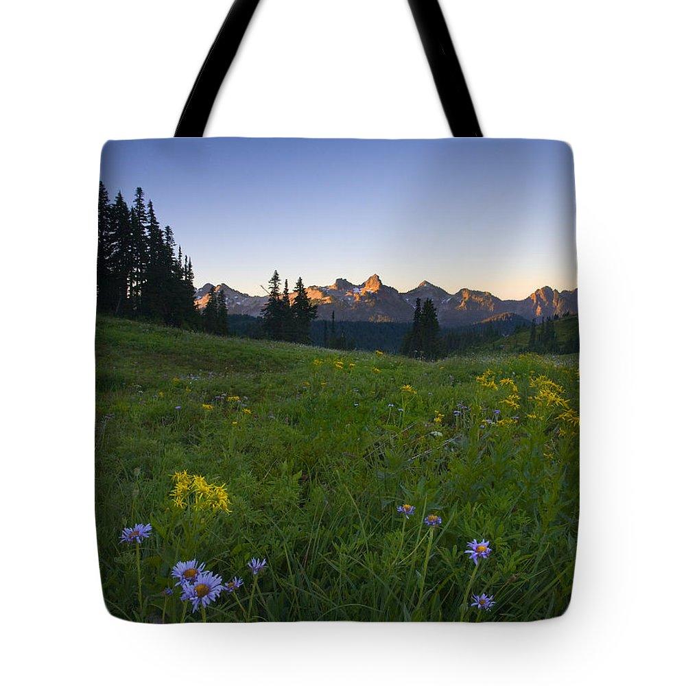 Dawn Tote Bag featuring the photograph Alpine Dawn by Mike Dawson