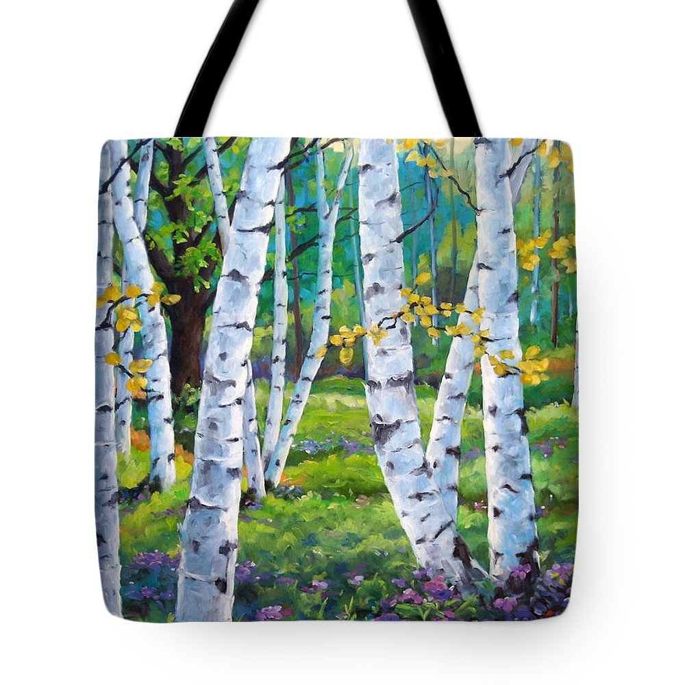 Birche; Birches; Tree; Trees; Nature; Landscape; Landscapes Scenic; Richard T. Pranke; Canadian Artist Painter Tote Bag featuring the painting Alpine Flowers And Birches by Richard T Pranke