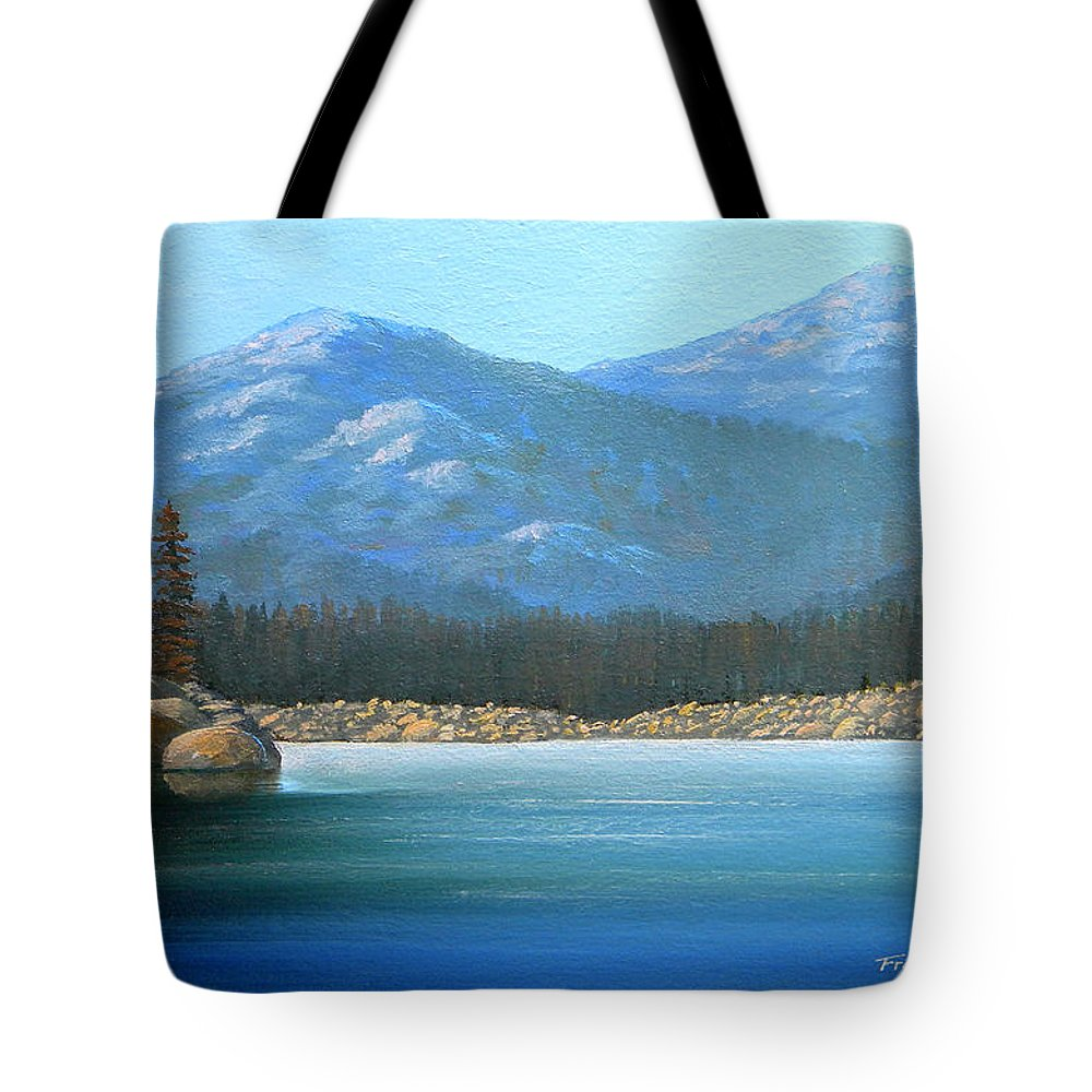Landscape Tote Bag featuring the painting Alpine Lake by Frank Wilson