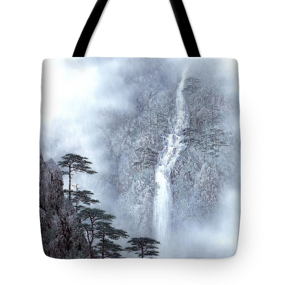 Alpine Waterfall Tote Bag featuring the painting Alpine Waterfall by Song Di