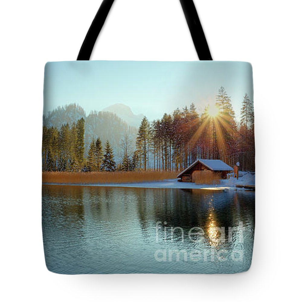 Winter Tote Bag featuring the photograph Alplake Winter Version by Silvio Schoisswohl