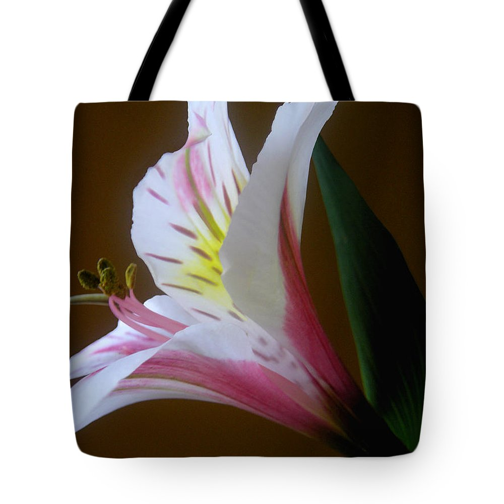 Nature Tote Bag featuring the photograph Alstroemeria - Responding by Lucyna A M Green
