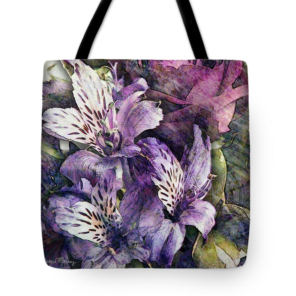 Flowers Tote Bag featuring the digital art Alstroemeria by Barbara Berney