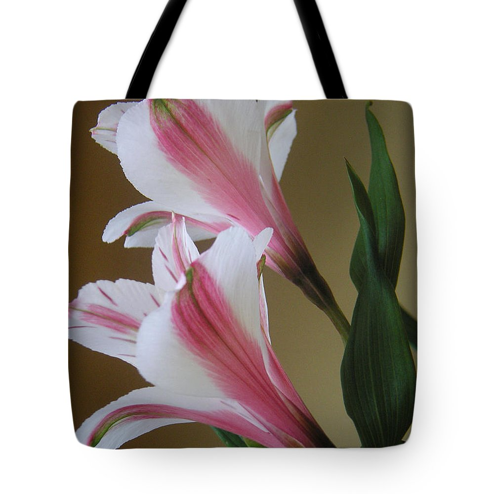 Nature Tote Bag featuring the photograph Alstroemerias - Doubled by Lucyna A M Green