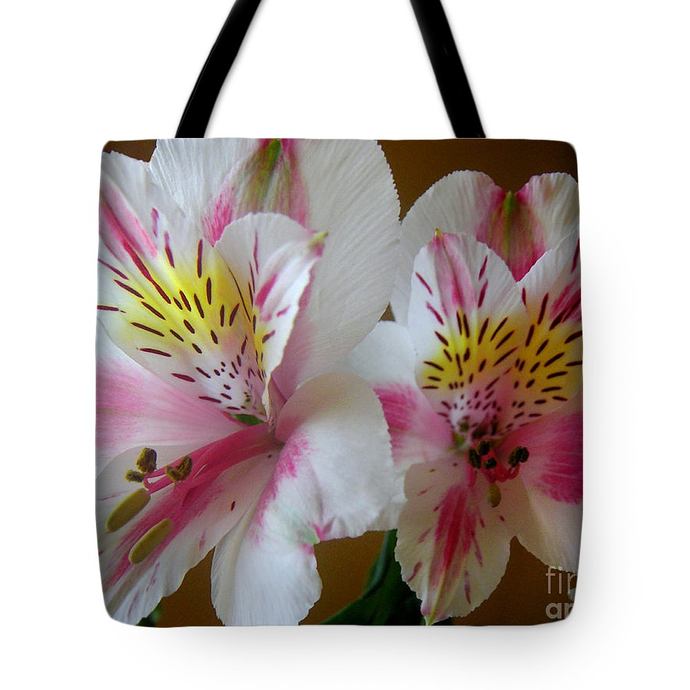 Nature Tote Bag featuring the photograph Alstroemerias - Heralding by Lucyna A M Green