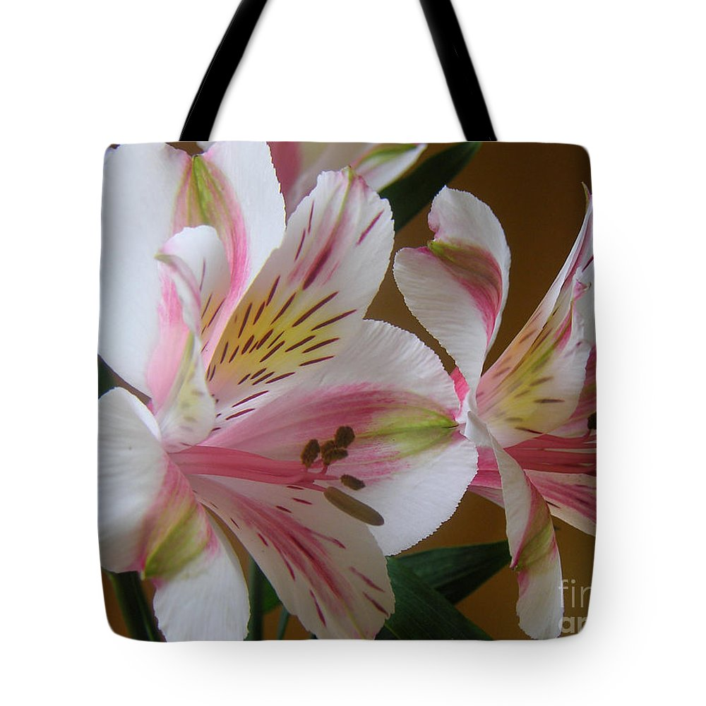 Nature Tote Bag featuring the photograph Alstroemerias - Listening by Lucyna A M Green