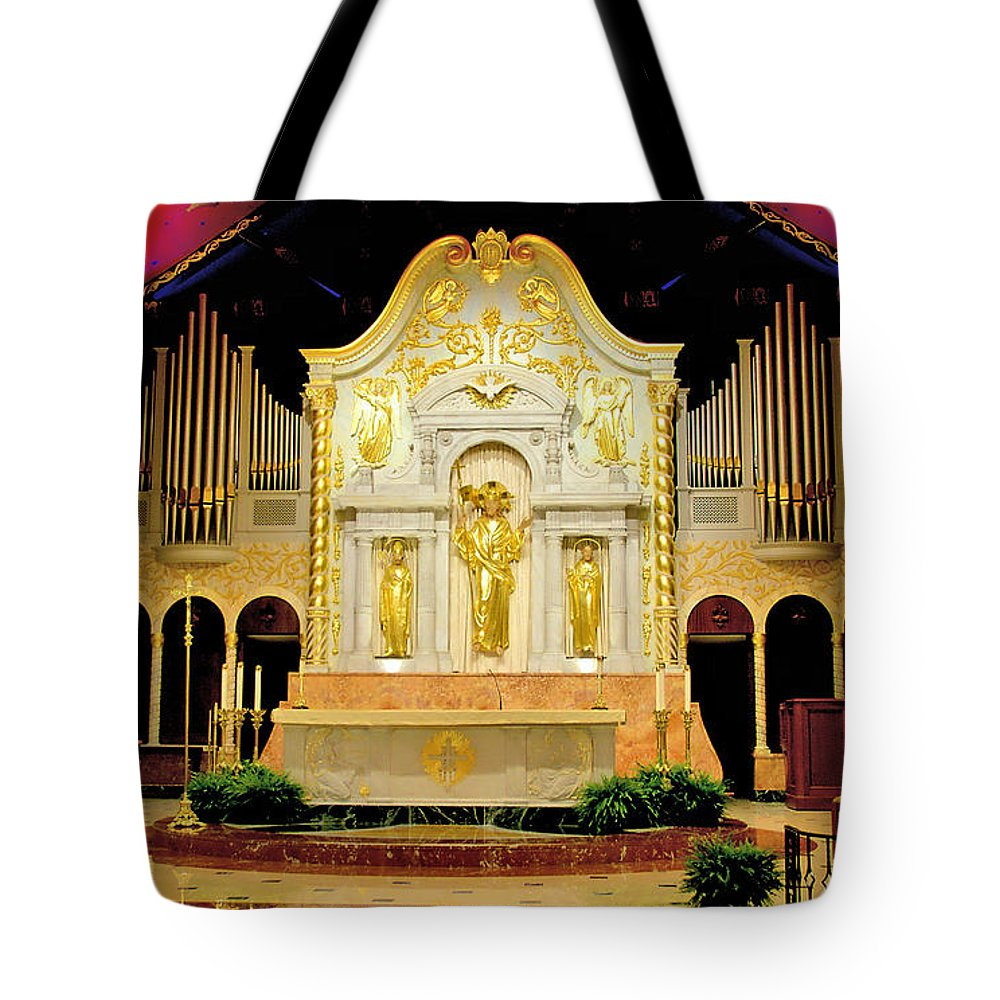 Catholic Churches Tote Bag featuring the photograph Alter - Cathedral Of St. Augustine by Larry Jones