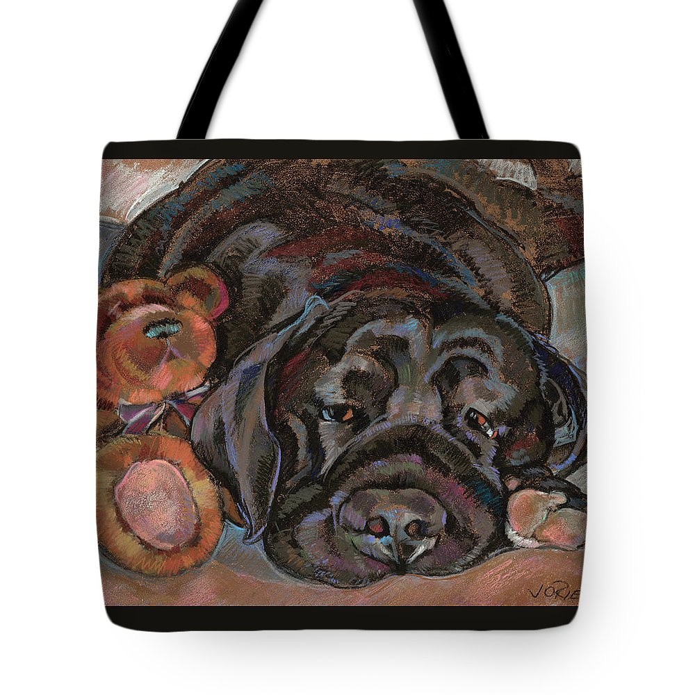 Black Dog Tote Bag featuring the painting Althea With Teddy Bear by Jane Oriel