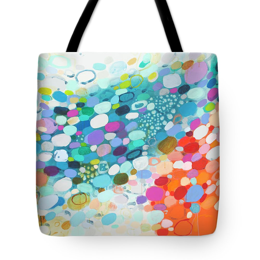 Abstract Tote Bag featuring the painting Always Looking For True Love by Claire Desjardins