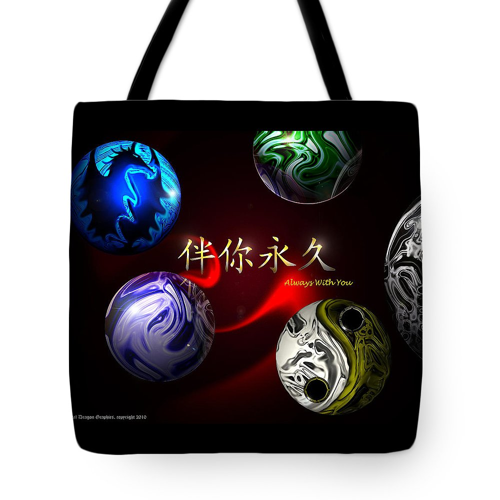 Yin And Yang Tote Bag featuring the digital art Always With You by Orlando Martinez