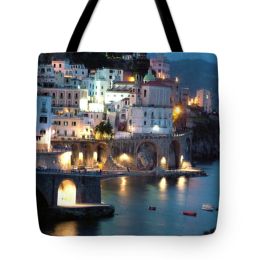 Horizontal Tote Bag featuring the photograph Amalfi Coast At Night by Donna Corless