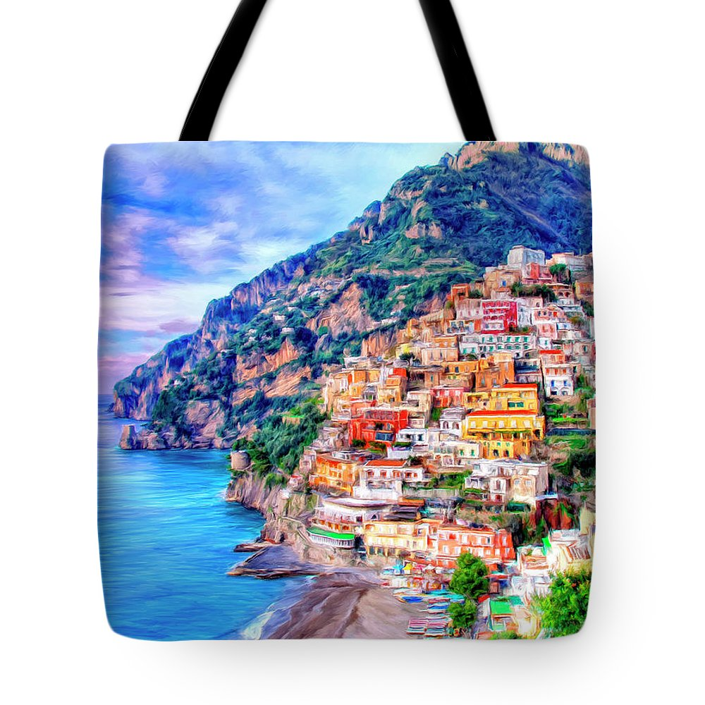 Italy Tote Bag featuring the painting Amalfi Coast At Positano by Dominic Piperata
