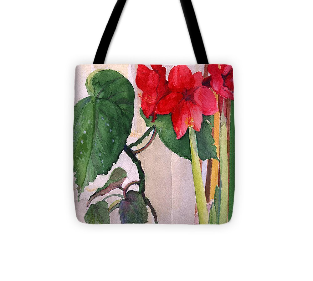 Christmas Amaryllis Tote Bag featuring the painting Amaryllis And Begonia by Nancy Watson