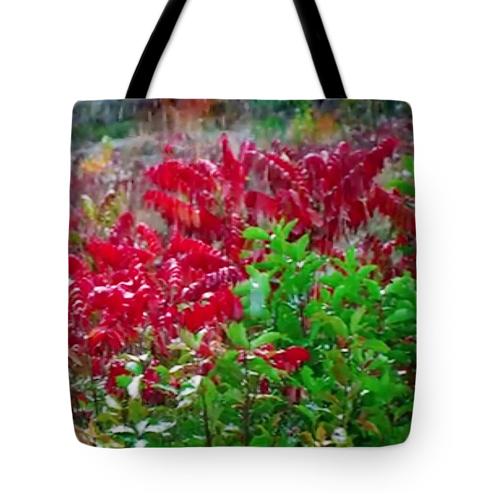 Red Tote Bag featuring the mixed media Amazing Nature Blessings Magic Colors Cherry Red Green Shrubs Plants Save The Environment by Navin Joshi