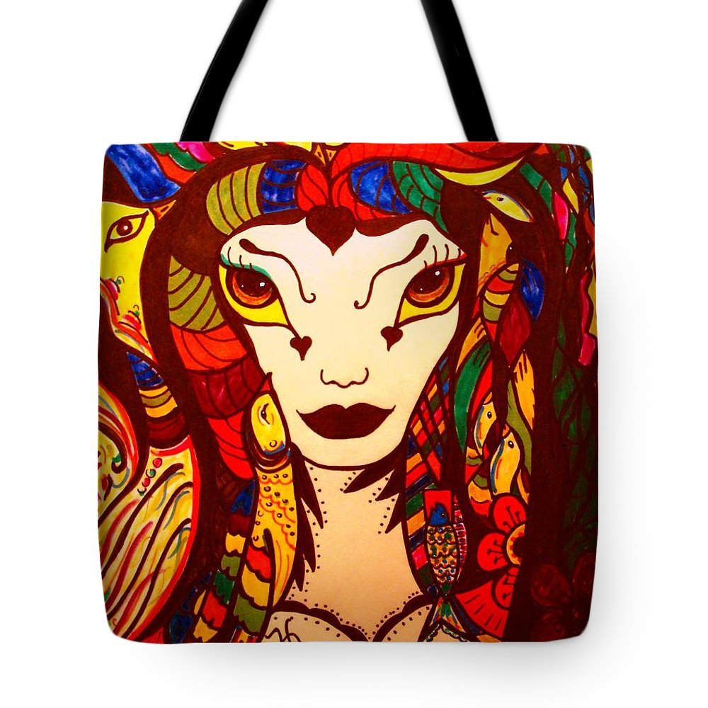 Fantasy Tote Bag featuring the painting Amazon Queen by Natalie Holland