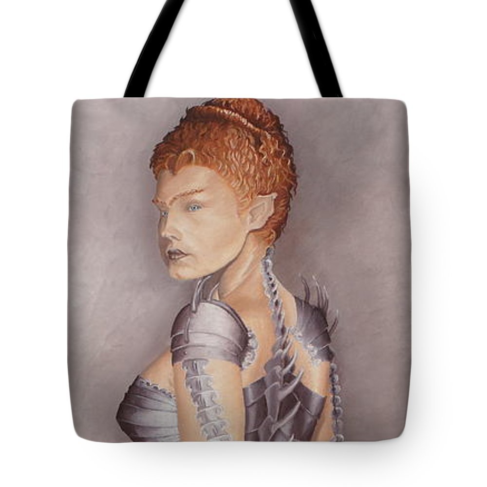 Portrait Tote Bag featuring the painting Amazon Scorpio by Pauline Sharp