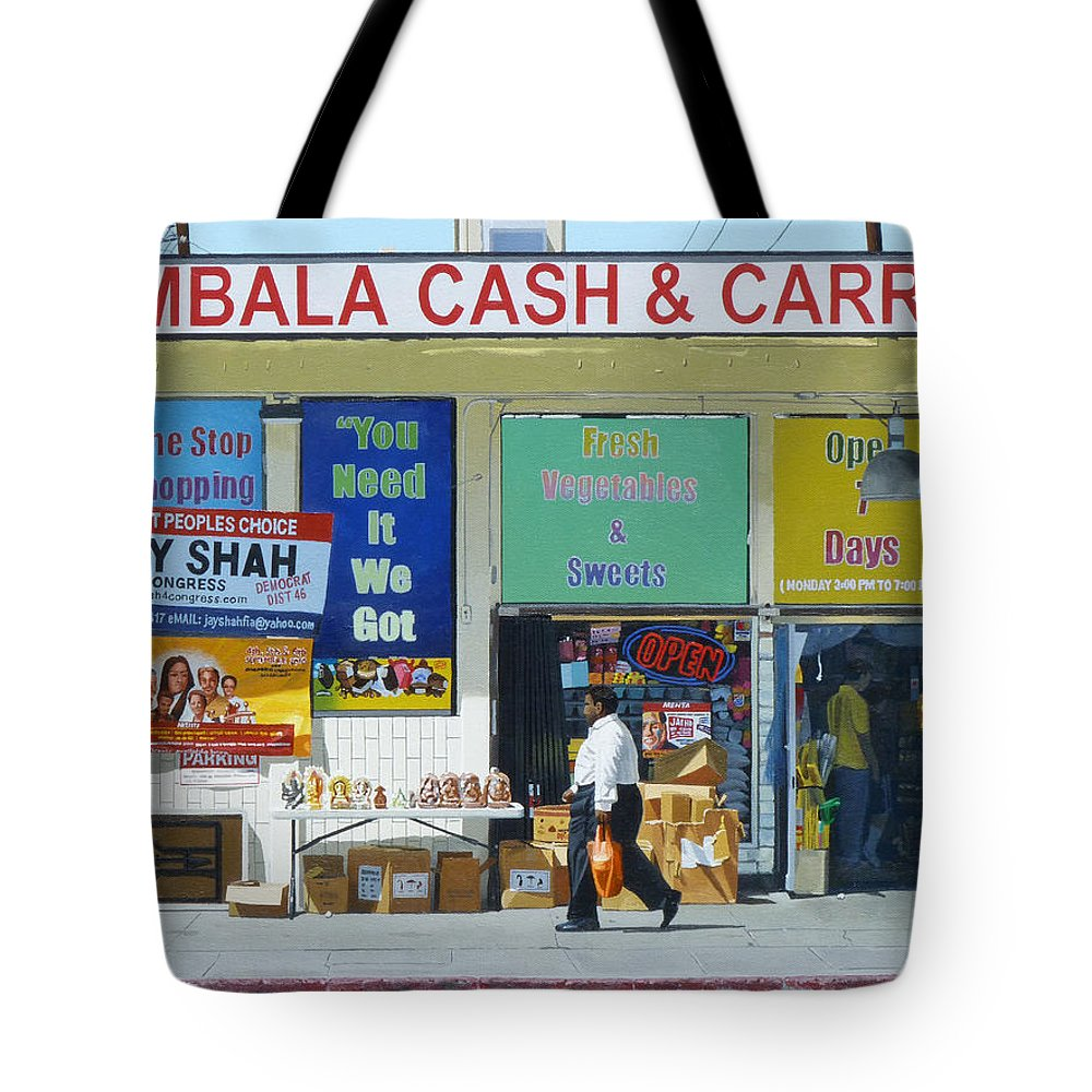 Ambala Tote Bag featuring the painting Ambala Cash And Carry by Michael Ward