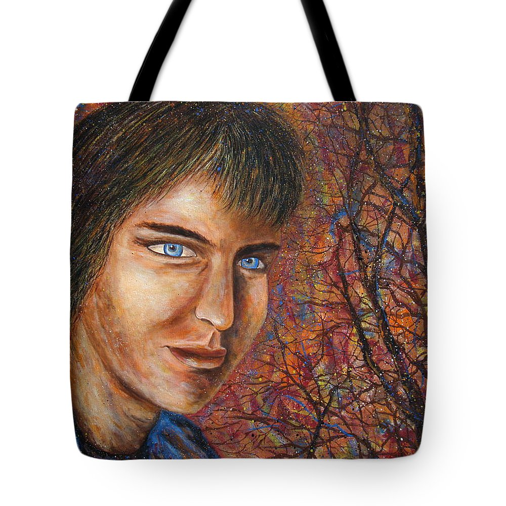 Colorful Autumn Tote Bag featuring the painting Amber Glow by Natalie Holland