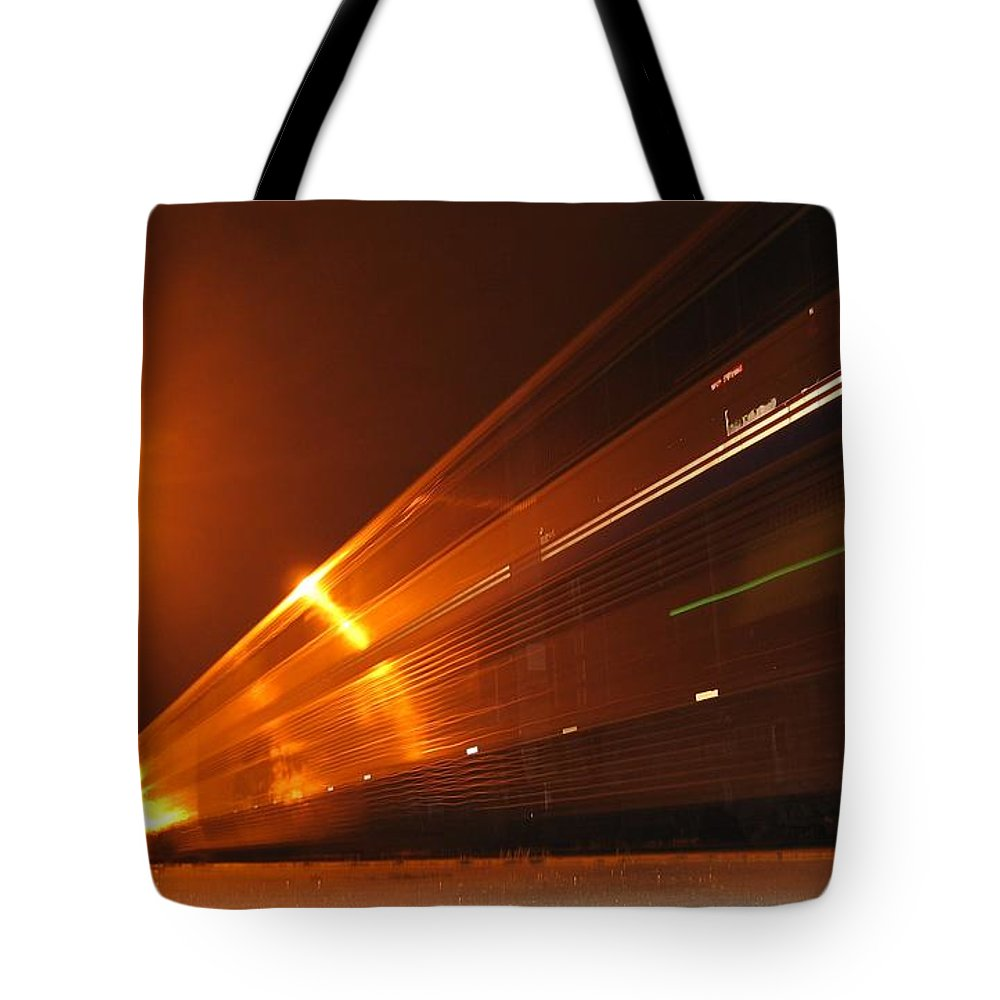 Railroad Tote Bag featuring the photograph Amber Night Train by James B Toy