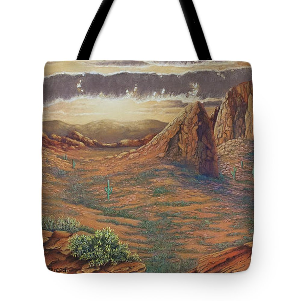 Landscape Tote Bag featuring the drawing Amber Sky by Teresa Frazier