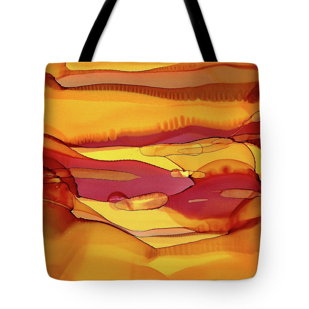 Amber Tote Bag featuring the painting Amber Waves Of Grain by Dana Roper